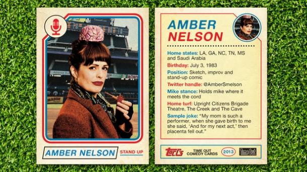 amber nelson comedian timeout baseball card