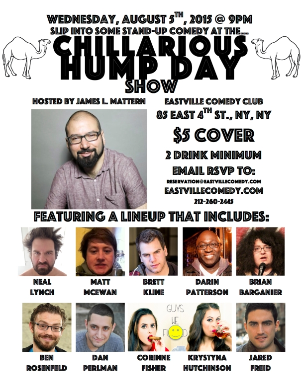 Eastville Chillarious Hump Day Comedy Show Invite Aug 5th 2015 IMAGE
