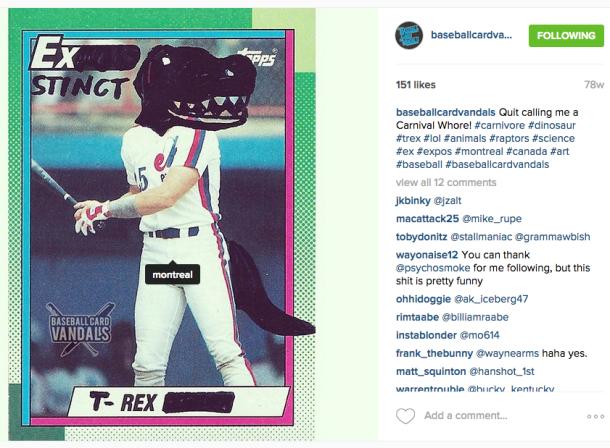 baseball card vandals t-rex exstinct
