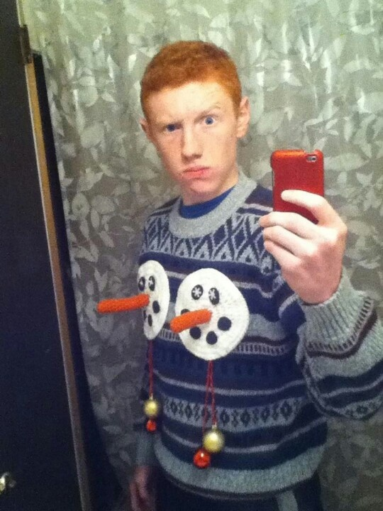 redhead ugly holiday sweater selfie