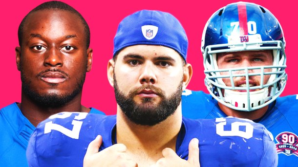 Left to Right: New York Giants 2018 free agents - running back Orleans Darkwa, guard Justin Pugh, and center Weston Richburg