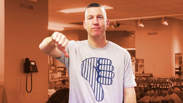 New York Mets infielder Todd Frazier giving his signature thumbs down gesture. Image via Modell's Sporting Goods YouTube.