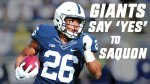 Penn State Nittany Lions running back Saquon Barkley was selected second overall in the 2018 NFL Draft by the New York Giants