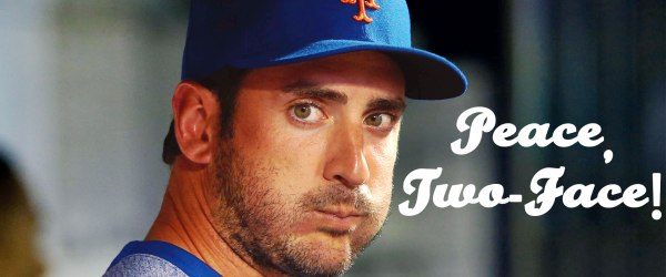 Soon-to-be former New York Mets pitcher Matt Harvey with a big ol' chaw dog.