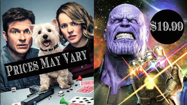 Game Night movie poster on the left, Thanos of Avengers Infinity War artwork on the right.