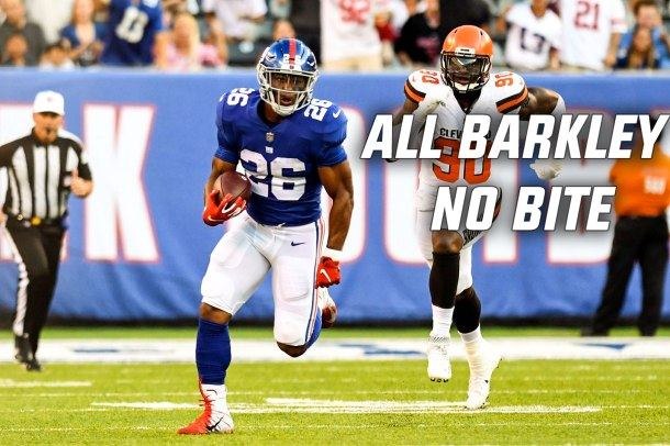 New York Giants running back Saquon Barkley rips off a 39-yard run on his first carry against the Cleveland Browns in a NFL preseason game.