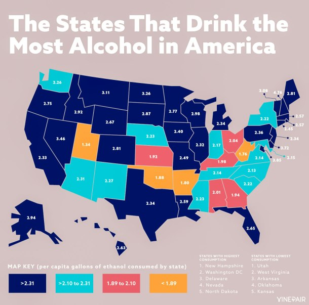 Infographic showing how much alcohol each state in the USA drinks