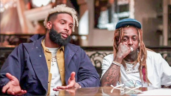 NY Giants wide receiver Odell Beckham does an Sunday NFL Countdown interview with Lil Wayne by his side.