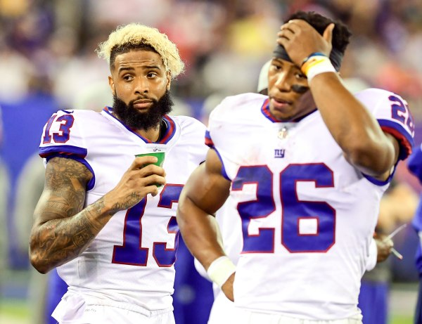 Odell Beckham and Saquon Barkley are in total disbelief that the Giants suck this hard.Odell Beckham and Saquon Barkley are in total disbelief that the Giants suck this hard.