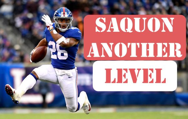 New York Giants running back Saquon Barkley ran wild against the Tampa Bay Buccaneers in his team's 38-35 win in Week 11. Photo via Gannett