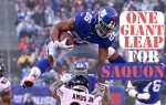 New York Giants running back Saquon Barkley leaps over Chicago Bears defender in NFL Week 12 game.