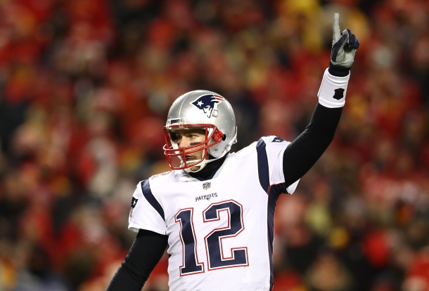 KANSAS CITY, MISSOURI - JANUARY 20: Tom Brady #12 of the New England Patriots gestures in the first half against the Kansas City Chiefs during the AFC Championship Game at Arrowhead Stadium on January 20, 2019 in Kansas City, Missouri. (Photo by Ronald Martinez/Getty Images)