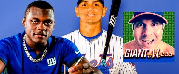 New York Giants cornerback Deandre Baker, New York Mets shortstop Andres Gimenez, Giants Mess show logo