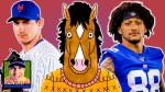 New York Mets pitcher Seth Lugo, BoJack Horseman, and New York Giants tight end Evan Engram