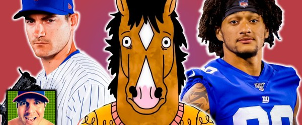 New York Mets pitcher Seth Lugo, BoJack Horseman, and New York Giants tight end Evan Engram