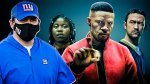 New York Giants head coach Joe Judge wearing a mask alongside Jamie Foxx and Joseph Gordon-Levitt in the Neflix movie Project Power