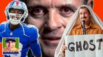 NY Giants linebacker Tae Crowder, Anthony Hopkins as Hannibal Lecter, Adam Sandler as Hubie Halloween