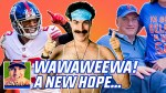 NY Giants defensive back Logan Ryan, Sacha Baron Cohen as Borat, NY Mets owner Steve Cohen